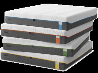 cztery szaro-białe materace Tempur z kolorowymi suwakami leżące jeden na drugim – każdy z metką w innym kolorze